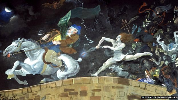 Detail of painting by Alexander Goudie