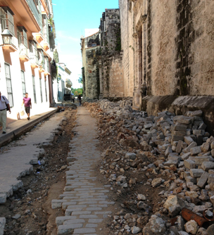 Roadworks on a cobbled streets
