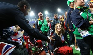 Paralympians after the ceremony