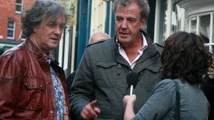 BBC Top Gear's Jeremy Clarkson and James May were interviewed by BBC Lincolnshire on Steep Hill