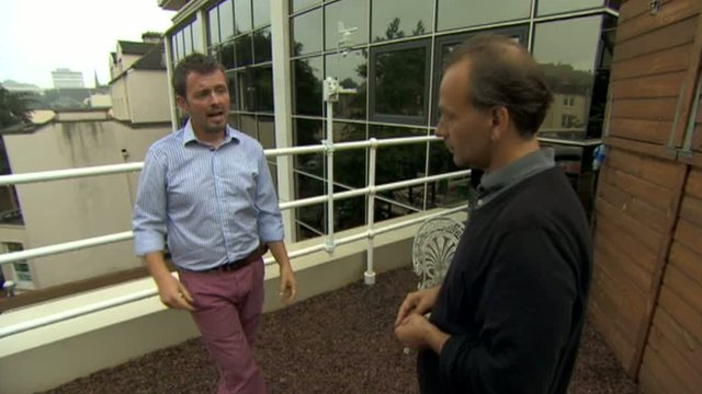 Paul Hervey-Brookes and Jules Hyam on BBC Bristol rooftop garden