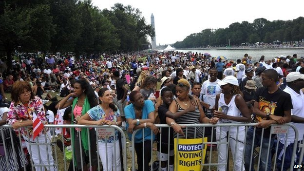 People gather by the Lincoln Memorial in Washington DC on 28 August 2013