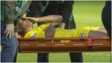 Andreas Cornelius of Cardiff City is carried off on a stretcher