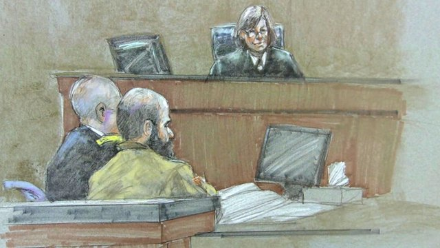A court sketch of Maj Nidal Hasan at the sentencing hearing of his trial in Fort Hood, Texas 27 August 2013