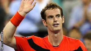 Andy Murray acknowledges the crowd after his opening win at the US Open