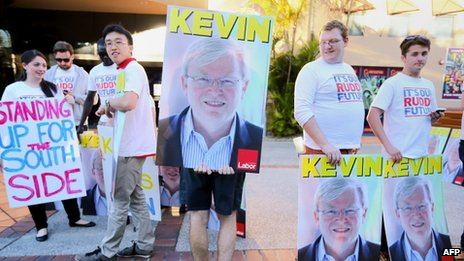 Young people carry Kevin Rudd placards in Brisbane on 21 August 2013