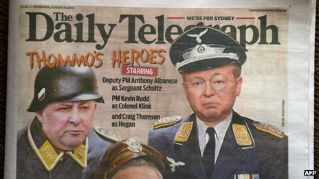 Front page of media tycoon Rupert Murdoch's key tabloid, the Sydney Daily Telegraph, on 8 August 2013