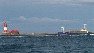 The Danio aground next to the Longstone lighthouse