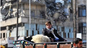 Boy on top of truck in Aleppo (file photo)