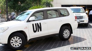 UN weapons inspectors leave their hotel in Damascus (29 August 2013)