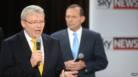 Australia's Prime Minister Kevin Rudd (L) speaks as opposition leader Tony Abbott (R) listens during a people's forum in Brisbane on 21 August 2013