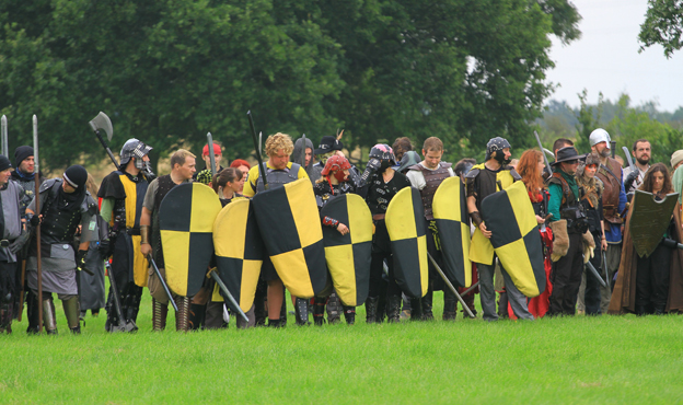 Players with yellow shields line up for battle. Photo by Andy Law