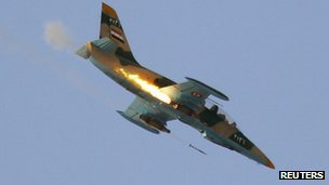 Syrian Air Force L-39 fires rockets