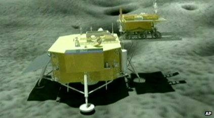 Computer image of Chang'e 3 on the moon