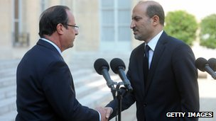 Francois Hollande meets Syrian opposition leader Ahmad al-Jarba