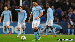 Disappointed Manchester City players
