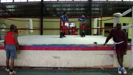 Cuban boxers training at La Finca outside Havana in August 2013