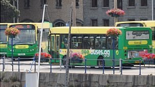Buses at the terminus in St Peter Port, Guernsey