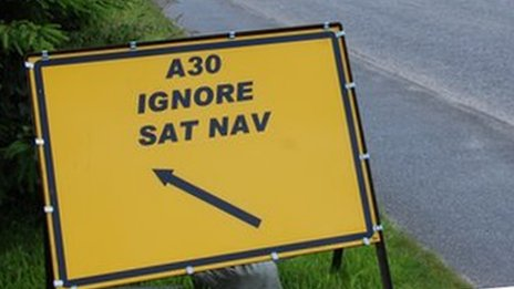 One of the temporary road signs
