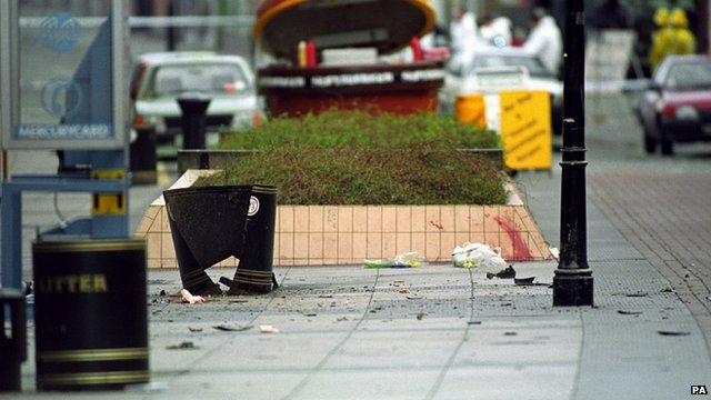 Aftermath of the Warrington bombing in March 1993.
