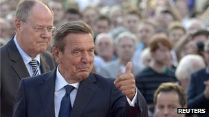 Former German Chancellor Gerhard Schroeder with Peer Steinbrueck at rally in Hanover, 21 Aug 13