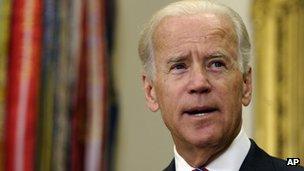 Vice President Biden speaks in the Roosevelt Room of the White House in Washington, 29 August 2013