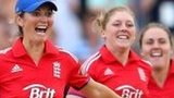 England captain Charlotte Edwards celebrates winning the Women's Ashes