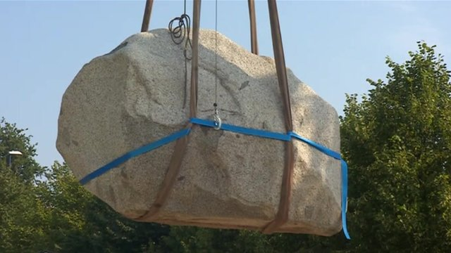 One part of the Two Stones artwork is winched into place in Maidstone