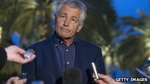 Defence Secretary Chuck Hagel meets with journalists
