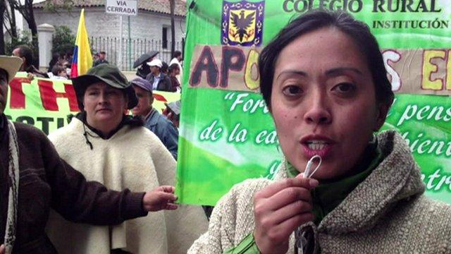 Colombian protestor