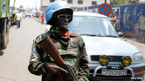 UN peacekeeper in Goma, DR Congo, on 29 August 2013