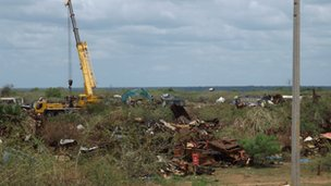 Image of equipment clearing wreckage in Mullivaikkal August 31 2013 BBC