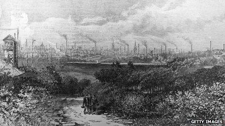The industrial skyline of Preston in 1885