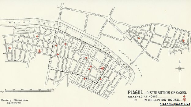 Map showing the distribution of plague cases in Glasgow in 1900