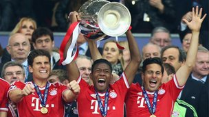 Bayern celebrate winning the Champions League