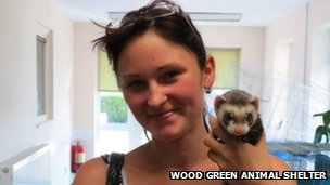 Diana Bijanskiene and Freddie the ferret