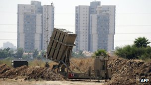 A battery of Iron Dome, a short-range missile defence system, is positioned on the outskirts of Tel Aviv on August 30, 2013.