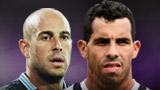 Napoli goalkeeper Pepe Reina; Juventus striker Carlos Tevez