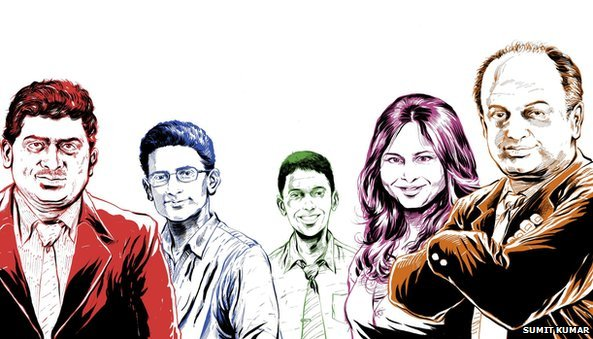 (From left) Nandan Nilekani, Ben Gomes, Rikin Gandhi, Ruchi Sanghvi and Sanjeev Bikhchandani - Illustrators: Sumit Kumar & Sumit Kumar