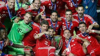 Bayern players celebrate winning the Super Cup