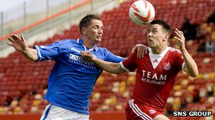 Aberdeen and St Johnstone are enjoying a good tussle at Pittodrie.