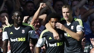 Stoke celebrate Jermaine Pennant's winner