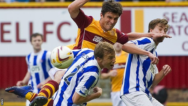 John Sutton causes the Kilmarnock defence problems