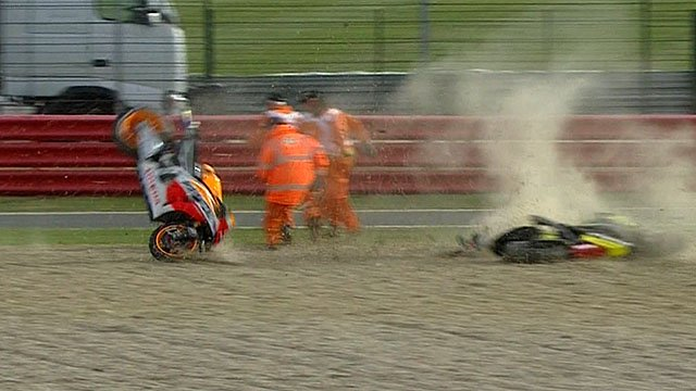 Marc Marquez's Repsol Honda narrowly avoids Silverstone marshals