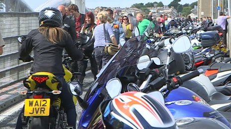 Motorbikes on the Tamar Bridge