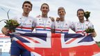 Welshman Chris Bartley (right) joins Great Britain's lightweight men's four colleagues Adam Freeman-Pask, William Fletcher and Jonathan Clegg in posing with their bronze medals at the 2013 World Rowing Championships in Chungju, South Korea
