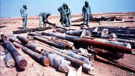File photo from the UK Ministry of Defence of Iraqi rockets filled with the chemical nerve agent sarin being prepared for destruction after the first Gulf War