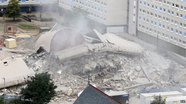 Demolished tower block