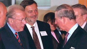 David Lonman (middle) with Sir David Frost and Prince Chales