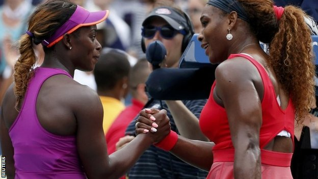Sloane Stephens (left) with Serena Williams